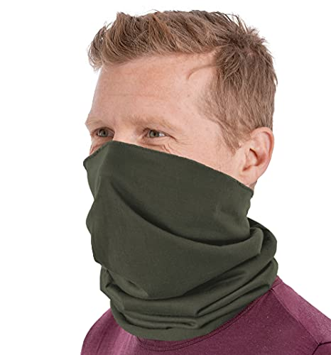 Neck Gaiter Face Mask - Face Cover & Sleeve w/ UV & Dust Protection - Pull Over Masks & Bandana - Fishing, Running & Hiking (Forest Green)