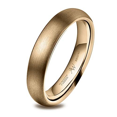 AW BRIDAL Alianza Unisex Cepillada para Mujer/Hombre, Oro de 4 mm, Ajuste Cómodo para Matrimonio, Compromiso, Asociación, Tamaño26