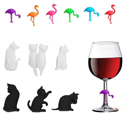 N\O Miystn Segnabicchieri Calici, Segna Bicchieri Colorati, Segnabicchieri in Silicone, Vetri Riutilizzabili Marcatori per Vino Tazza per Bar Party (12 Pezzi, Fenicottero e Gatto)