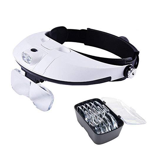 LARAH Gafas Lupa con Luz LED,Manos Libres Diadema Lupa, Lupa de Cabeza Ajustable para Coser,Leer, Reparaciones,Joyería y Relojería, Cinco Lentes Intercambiable 1X,1.5X, 2X, 2.5X, 3X, 3.5X