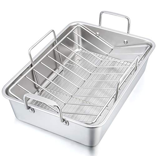 """15¼"""" Roaster Roasting Pan with Baking Rack and V-shaped Rack, P&P CHEF Stainless Steel Rectangular Lasagna Pan with Handles for Turkey Chicken, Heavy Duty & Healthy & Dishwasher Safe, 3 Pieces"""
