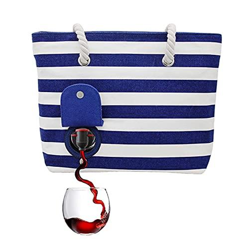 XFY Bolsa de Playa Gran Bolsa Asas para Mujeres, Bolso de Playa Que Puede Contener el Vino o Las Bebidas Tintas de 1.5l, La Bolsa Asas Lujo Alta Resistencia Abierta con Bolsillo Exterior