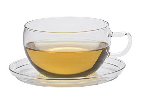 Trendglas Jena Jumbo Teetasse aus Borosilikatglas mit Glasunterteller (0,4 Liter)