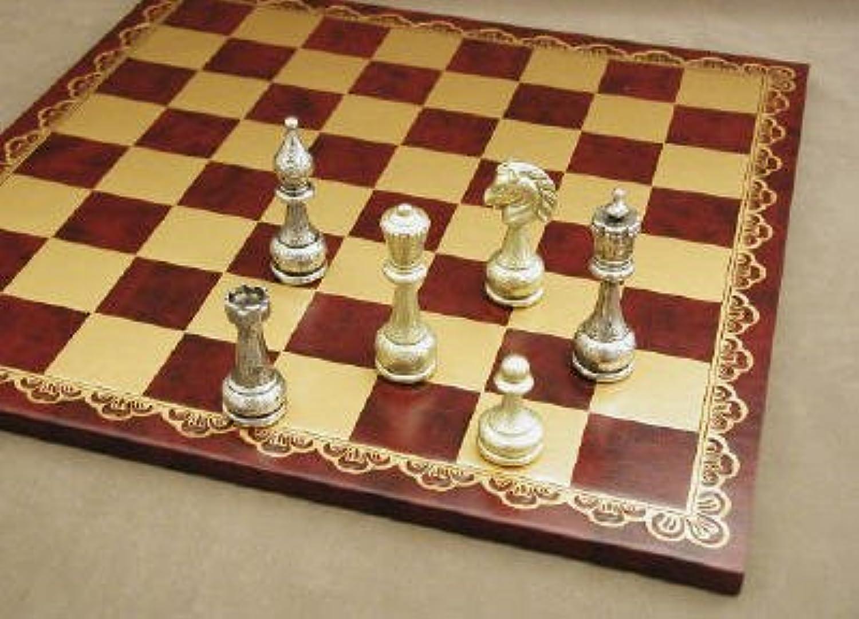 Ital Fama Large Metal Staunton on Leather Chess Board by Italfama