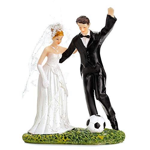 DekoHaus Tortenfigur Brautpaar- mit Fußball 14 cm Tortenaufsatz Tortendeko Hochzeit PF31