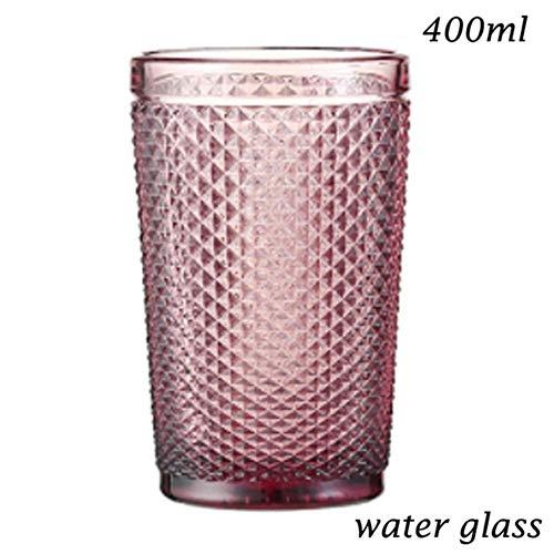 DIF Champagne Glas Water Cup voor Drinken Rode Wijn Glas Drank Melk Bril Ice Cream Cup Salade Bowl Loodvrij Glas Roze Blauw, waterglas 400ml