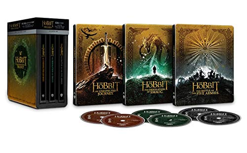 Der Hobbit: Die Trilogie 4k Ultra HD (Kinofassung und Extended Version) Limited Steelbook Box Edition + Blu-ray (Deutscher Ton teilweise vorhanden, siehe Beschreibung)
