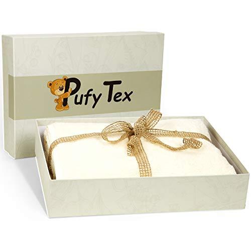 Toalla de sauna Pufy Tex® Premium - [70x140cm] Toalla de baño XXL para cada área de uso - toalla extra mullida grande para mujeres y hombres - incluye caja de regalo y sal marina