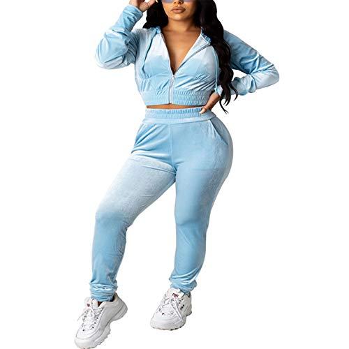 Ropa Deporte Completo Mujer Conjuntos 2 Piezas Terciopelo Chándal Completo de Manga Larga con Cremallera. Top Sudadera Cuello Béisbol+ Pantalones Deporte de Moda (Azul Cielo, S)
