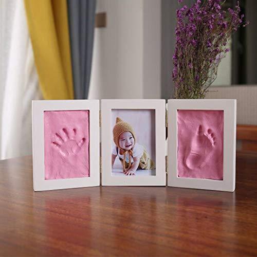 QWERTOUR Cute Baby Photo Frame DIY Handprint Imprint Air Drying Soft Clay Footprint Kids Casting Parent-Child Hand inkpad...