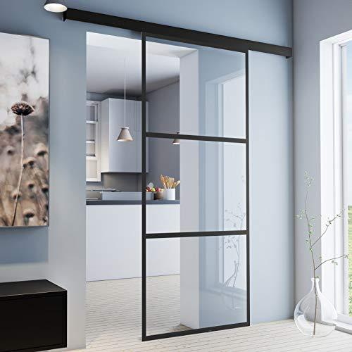 inova Glas-Schiebetür Zimmer-Tür 1025 x 2200 mm klarglas (VSG) mit 26 mm Alu-Rahmen schwarz Komplett-Set mit...