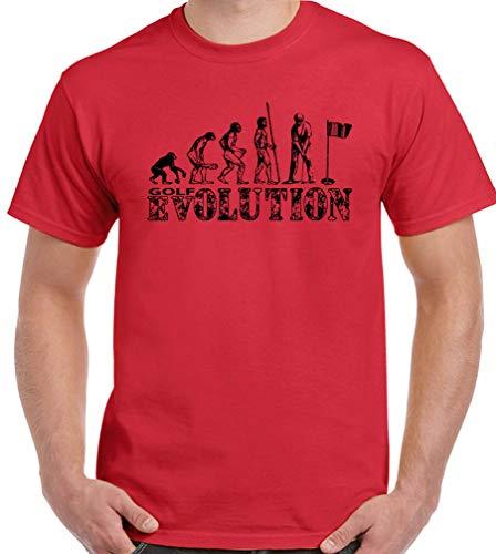 Lustiges Golf-T-Shirt für Herren, Golfschläger mit Eisenbällen Gr. XXL, rot