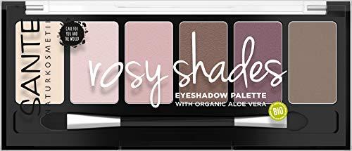 SANTE Naturkosmetik Eyeshadow Palette Rosy Shades, Lidschattenpalette, Sechs aufeinander abgestimmte Rosé-Nuancen, Hochpigmentierte Textur, 6 g