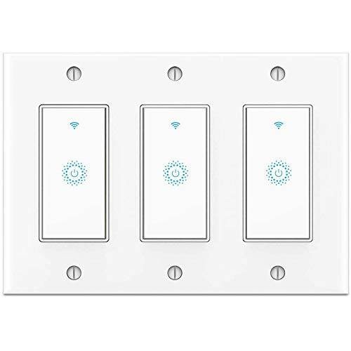 Smart Switch 3 Gang (Not 3 Way Switch), Smart WIFI Light Switch Work With Alexa Google Home and IFTTT, Voice and Remote Control, No Hub Required, Single-Pole Only