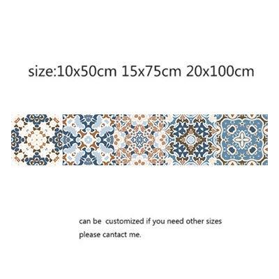 Leileixiao Pegatinas para azulejos de mosaico de estilo árabe para sala de estar, cocina, retro, 3D, impermeable, decoración de baño, papel pintado adhesivo (color: 13, tamaño: 10 x 50 cm)