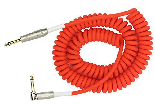 """KIRLIN Cable Kirlin IMK-202PFGL-30/RDF-Straight to Right Angle ¼"""" Premium Coil Instrument Cable, Red Translucent PVC Jacket-30ft, (IMK-202PFGL-30/RDF)"""