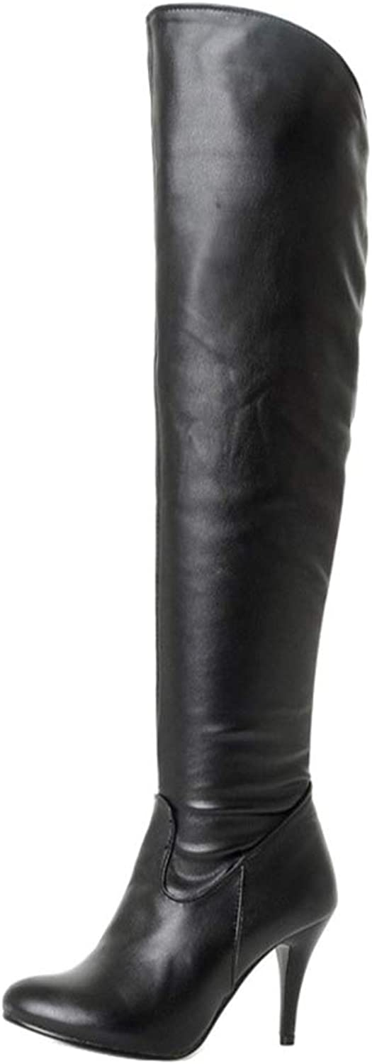 Hoxekle Women Stiletto Long Riding Boots with Round Toe Plush Zip Over-The-Knee Boots Fashion Sexy Formal shoes