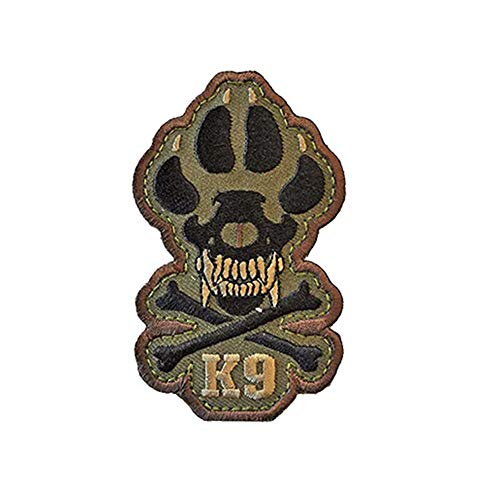Veelkrom K9 & Crossbone Killer Attack Police Dog Fastener Patch Embroidered Army Swat Morale Hook Loop Backing Tactial Badge Swat for Service Animal Vest (Army Green)