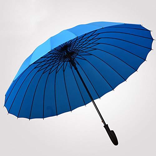 Gebogener Griff Color Super Large Gerade Golf Regenschirm, 24 Rib Starke Verstärken Winddichtes Fiberglas Umbrella - Compact - Auto Öffnen Schließen,Skyblue