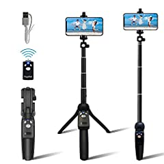 ALL-IN-ONE LIGHTWEIGHT SELFIE STICK & BUILT IN TRIPOD : No Need For A Separate Selfie Stick And Tripod. Great For Group Photos, Facetime, Adventure Shots, Instagram, Facebook Live, Vlogging. BUILT IN TRIPOD FOR FACETIME / VIDEO CALLS: Extend The Feet...