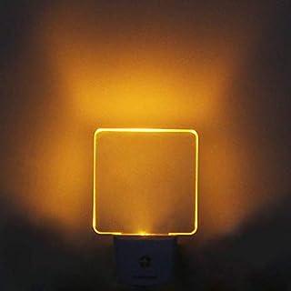 LED Night Light Plug in 4 Pack, Dusk to Dawn Photocell Sensor, Nightlights for Bedroom Bathroom Kitchen, Square Design Yellow