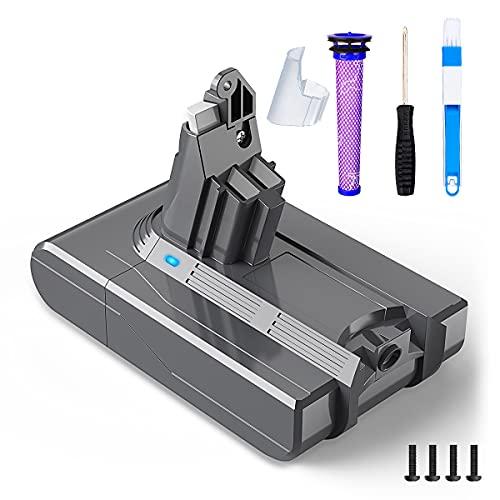 Batterie de Remplacement pour Dyson V6, BuTure 21.6V Lithium-ion Batterie Compatible avec Dyson V6 DC62 DC59 DC61 DC58 DC72 DC74 avec 1 Remplace Filtre 1 Tournevis 1 Brosse de nettoyage 3000mAh