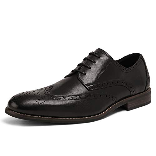 Bruno Marc Men's Genuine Leather Dress Oxfords Wingtip Shoes Black 11 M US JFB19001M