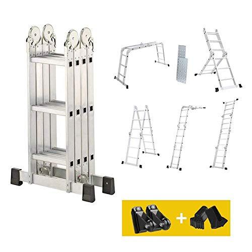 Dripex Leiter Mehrzweckleiter Klappleiter【robust】Stehleiter Gerüstplattform Doppelleiter Merhzweck Anlegeleiter Klappleiter Aluleiter Haushaltsleiter Tragfähigkeit bis 150kg(4x3 Stufen. 3,6 meter)