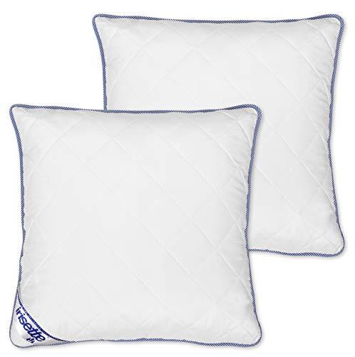 Badenia Bettcomfort Irisette Body Contour Kopfkissen 2er-Set, Microfaser, 80 x 80 cm, weiß / blau