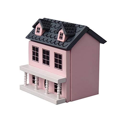 eujwtunxm PandaLily Doll House Decor Pretend Play 1/12 Dollhouse Wooden Villla House Model Miniature Landscape Decor Kids Toy - Pink