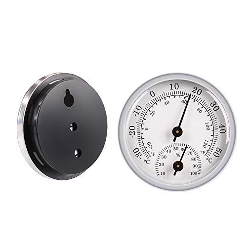 JeoPoom Thermo-Hygrometer, Thermometer Hygrometer Innen Analog, Zimmerthermometer und Luftfeuchtigkeitsmessgerät, Glockenthermometer und Hygrometer für zu Hause oder im Büro(Silber)