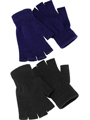2 Paare Halbfinger Handschuhe Unisex Warme Winter Fingerlose Handschuhe für Männer Frauen (Schwarz, Blau)