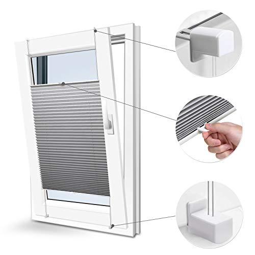 Plisségordijn, zonder boren met klemdragers, 45 x 130 wit, ondoorzichtig, zonwering, zonwering, raamrolgordijn, jaloezie, voor ramen en deuren