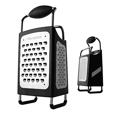 Microplane 34006 4-Sided Stainless Steel Ultra-Sharp Multi-Purpose Box Grater Large, 10 inch, Black