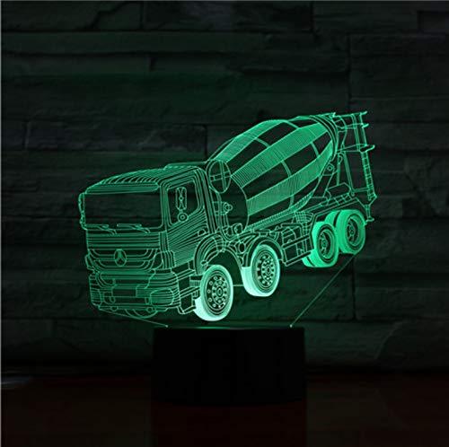 Mixer Truck 3D Stereo Lampe Schlafzimmer Led Atmosphäre Kreative Nachttisch Leuchten Usb Nachtlicht Kinder Geschenk