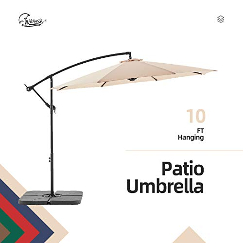 Wikiwiki Offset Umbrella 10ft Cantilever Patio Umbrella Hanging Market Umbrella Outdoor Umbrellas...
