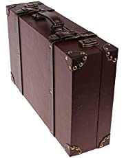 KESOTO 木製 スーツケース アンティーク調 ホーム装飾 ディスプレイ 旅行 撮影 金属バックル PUレザー
