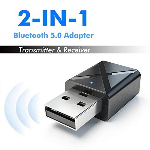 LFJNET Best Choice 2 in 1 Bluetooth 5.0 Transmitter Receiver 3.5mm Wireless Stereo Audio Adapter