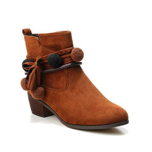 HERIXO Damen Schuhe Stiefeletten Stiefel Ibiza Boho Bohemian Indianer Mokassin Pom Pom Kugeln Reissverschluss Blockabsatz Wildlederimitat(41 EU,Camel)