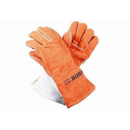 TYXHZL handschoenen van leer voor het lassen, hittebestendig en snijvast, ideaal voor het blokkeren van warmte en bescherming van de handen, oranje (32 cm)