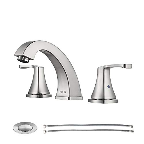 PARLOS Widespread Double Handles Bathroom Faucet with Pop Up Drain and cUPC Faucet Supply Lines, Brushed Nickel, Doris 14172
