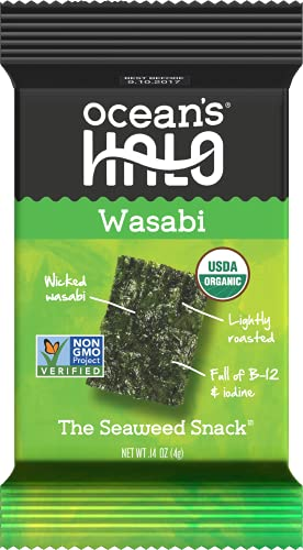 Ocean's Halo Seaweed Snacks (Wasabi) 1 case of 12 Unit Trays