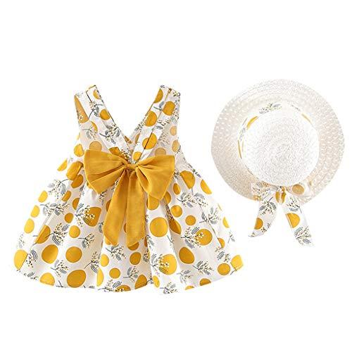 INLLADDY Kleider Baby Mädchen Blumendruck Kleid Ärmellose Urlaub Sommerkleid Kleinkind Prinzessin Kleidung Outfit + Hut Set 6 Monate-3 Jhare Gelb 12-18 Monate