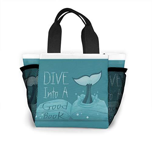 Lunch-Tasche für Damen, Handtasche, Lunch-Tasche für Arbeit, Picknick oder Reisen – Tauchen Sie ein gutes Buch