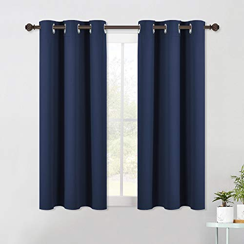 NICETOWN Living Room Blackout Curtain Panels, Window Treatment Energy Saving Thermal Insulated Solid Grommet Blackout Drapes/Draperies (Navy, 1 Pair, 42 by 54-Inch)