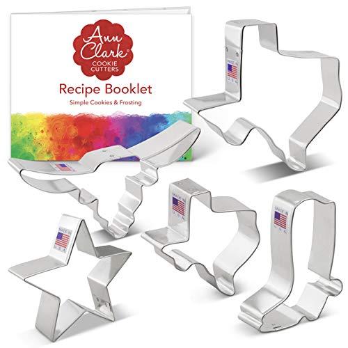 Ann Clark Cookie Cutters 5-Piece Texas Cookie Cutter Set with Recipe Booklet, Texas 3' & 4.4', Long Horn, Star, Cowboy Boot