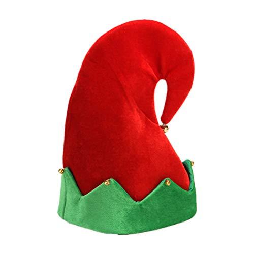 Markcur - Gorro de Papá Noel con campana, diseño de corona verde