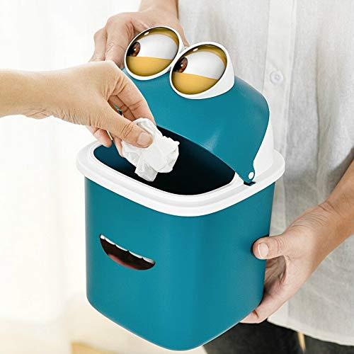 weichuang Mini-Mülleimer für den Schreibtisch, mit Aufklebern, niedliches Design, für Schlafzimmer, Wohnzimmer, Zuhause, kleiner Schütteldeckel. Fassungsvermögen: 4 l, Farbe: Grün mit großen Augen.