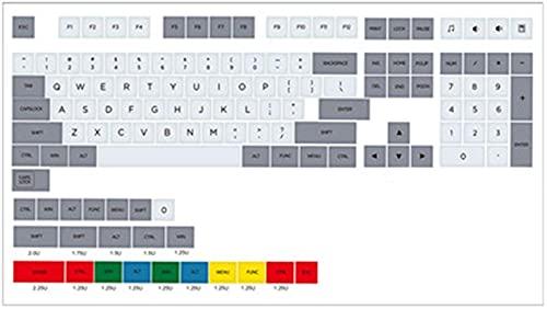 F-Mingnian-rsg Partes del Teclado keycap 131 Teclas/Juego Granito PBT Dye Subbed para Interruptor MX Teclado mecánico Perfil XDA Retro Gris Blanco 1.5 mm Adecuado para la mayoría de los teclados