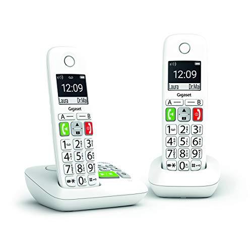 Gigaset E290A Duo - Téléphone Fixe sans Fil Blanc avec Répondeur Intégré, 2 combinés avec Grand écran rétroéclairé, larges Touches, Fonction Blocage D'appels
